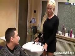 Super movie category cumshot (898 sec). AMAZING german blonde girl fucked in barbershop - Great Body.