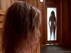 Nice video category lesbian (337 sec). Blonde lesbian anal toyed in sauna.