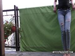 Free erotic category pissing (235 sec). Desperation pee and wetting jeans on balcony.